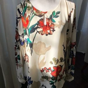 Express Floral Blouse with Bell Sleeves Size Large